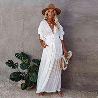 Sexy Beach White Beach robes élégantes femmes taille cordon de cordon décontracté maxi maxi robe d'été robe à manches courtes couvertures longues Tunique longue 210421