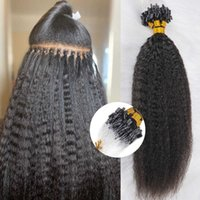 100 Strands Pack Kinky Straight Micro Loop For Black Women Human Brazilian Remy Microlinks Hair Extensions