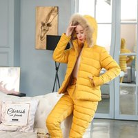Women's Tracksuits 2021 Winter Clothes Women Cotton-Padded Down Hooded Parka Thick Warm Coat Jacket Suits Female Two Piece Leisure Trousers
