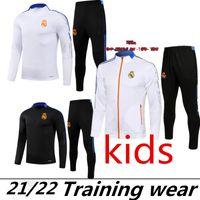 21 22 Real Madrid Bambini Tracksuit Soccer Training Suit Suit Secondazione 2021 2022 Pericolo Alaba Benzema Mbappe Camiseta de Futbol Chandal Football Jogging Sportswear Set