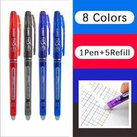 Ballpoint Pens 1+5pcs set 8 Colors Ink Erasable Pen 0.5mm Magic Rollball Refills Rod Washable Handle School Office Supplies