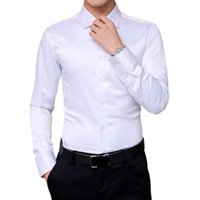 Autumn New Men's Korean Shirts Wedding Party Long Sleeve Dress Shirt Silk White Tuxedo Shirt Men 5xl