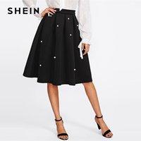 Skirts SHEIN Black Vintage Pearl Embellished Boxed Pleated Circle Knee Length Mid Waist Skirt Women Autumn Elegant Workwear