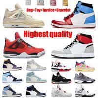 Barbet Basketball Jumpman Shoes 1 1s Travis Scotts 4 4S League Black Noir Ice Obsidian ONC Intikless Transport Box Men's Top Calidad 36-46 MEDIO TAMAÑO
