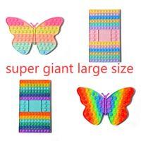 Super grande 32cm gigante arco-íris empurrar bolhas placa mega jumbo 30cm borboleta borboleta de xadrez de xadrez sensorial fidegeta dedo poo-seu quebra-cabeça brinquedos Família crianças jogo