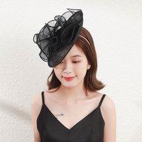 Rongmei hat indústria nupcial cocar headband celebridade cocktail festa moda linho cabeleireiro menina