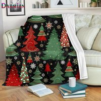 Blankets DARMIAN Cute Christmas Tree Print Fleece Blanket Comfort Soft Bed Thin Quilt Sofa Office Nap Warm For Kids Adults Manta