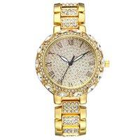 Relojes de pulsera Sanwood Ly Moda Mujeres Rhinestone Steel Strap Número Romano Dial Redondo Reloj de pulsera de cuarzo
