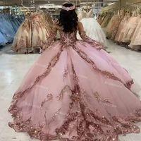 Prenses Payetli Tatlı 16 Quinceanera Elbiseler Tozlu Pembe Balo Gümüş Uzun Kollu Balo Elbise Kızlar 15 Doğum Günü Partisi Etek Mezuniyetler Vestidos Formales