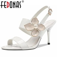 Sandals FEDONAS Flower Genuine Leather Women 2021 Summer Buckles Pearl Decoration High Heels Pumps Wedding Party Shoes Woman