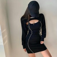 Casual Dresses WOMENAGAGA Girl Round Neck Letter Label Loose Blouse Short Skinny Hip Strap Mini Tank Sweatshirt Dress Fashion Women Tops E8C