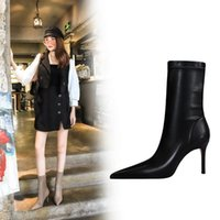 Free fashion women pumps knit pointed toe rivets over the knee boots high heels socks boots shoes women sexy boots