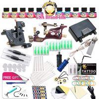 Top Freies Schiff Complete Tattoo Kit Rotary Maschinenspulen Verkauf Dragonhawk Netzteil 10 Farben USA Tinte Set1