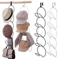 Hooks & Rails Baseball Cap Rack Hat Display Holder Door Closet Clothes Scarf Towel Round Storage Shelf Home Organizer