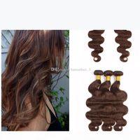 Mittelbraune menschliche Haare webt mit Spitzenverschluss Körperwelle Schokolade braune Haarverlängerung mit 4x4 Spitzenverschluss frei Teil