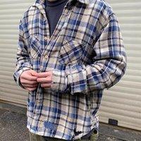 Tasarımcı Amerikan Erkek Rahat Delik Gömlek VJ 004 Kenijima Nakış Erkekler Ve Kadınlar Mont Tee Retro Gevşek Flanel Yama Işlemeli Ekose Yüksek Kalite Üstleri Gömlek