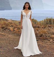 Other Wedding Dresses Dress Boho Soft Lace Chiffon 2021 A-Line Short Sleeve Sweep Train Back V-neck Bridal Gowns Robe De Mariee Gorgeous