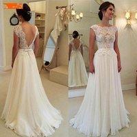 Элегантное Boho шифоновое белое свадебное платье длинные 2021 кружева аппликации без рукавов слоновые платья сад сексуальные платья невесты