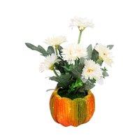 Flores decorativas Guirnaldas Simulación Flor En Potted Crisantemo artificial Falta Pot de la calabaza para la fiesta de bodas Decoratio de Pascua de Navidad
