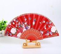 Tragbare Damen Falten Hand Fans Fans Hochzeit Party Favorie Seide Tuch Floral Tanz Show Requisiten Fan Japanischen Stil