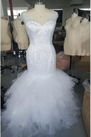 2021 Real Pics Mermaid Wedding Gown Sleeveless V- neck with L...