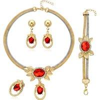 Liffly Charm Bridal Свадьба Красное Кристалл Ожерелье Браслет Серьги Кольцо Роскошные Ювелирные Изделия Модные Наборы