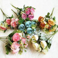 Decorative Flowers & Wreaths 1 Bunch Of 6 Roses Rayon Flower Head DIY Corsage Accessories Wedding Decoration Wreath Scrapbook Craft Artifici