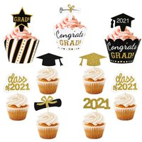 Class of 2021 Cake Topper Congrats Grad Cupcake Wrapper for 2021 Graduations College Celebration Party Birthday Cake Decorations