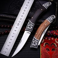 NEW!Tactical Folding Pocket Knife Steel Blade Wood Handle Titanium Survival Knives Huntting Fishing camping Tool fruit knife