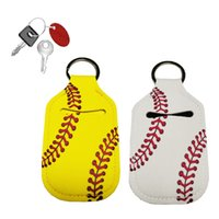 New style Rectangle Softball And Baseball Printed Neoprene Chapstick Keychain Holder Party Holiday Gifts Factory wholesale