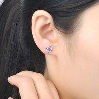 Sterling Silver Earrings Stud Purple Flower Zircon Diamond Earring for Women S925 Anniversary Gift with Box