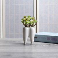 Teeth shape ceramic pot succulent planter mini white cute garden flower decoration indoor office desk decor FWE10265