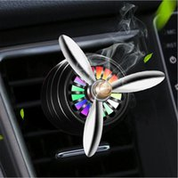 Electric Fans Mini LED Car Smell Air Freshener Conditioning Alloy Auto Vent Outlet Perfume Clip Fresh With Decoration Light