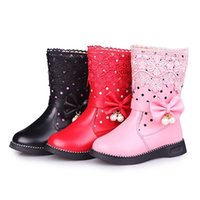 Girls High Boots Fashion Fur Shoes With Children Lace Pearl Botas Femininas Rubber Winter 211025