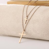Simple Fashion Double Cross Chain Necklace For Women Men Luxury Ladies Gold Jewelry Pendant Crucifix Christian Ornament Gifts Chains
