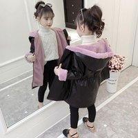 Jackets Girls Baby's Kids Coat Jacket Outwear 2021 PU Warm Plus Velvet Thicken Winter Autumn Cotton Outdoor Fleece Children's Clothes