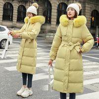Winter Women Long Parkas Jacket With Belt Casual Big Fur Collar Hood Thicken Warm Parkas Coat 2021 Fashion Slim Outwear parkas