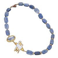 """GuaiGuai Jewelry Natural 21"""" Natural Blue Kyanites Rectangle Gold Color Plated White Biwa Pearl Choker Necklace Vintage For Women"""