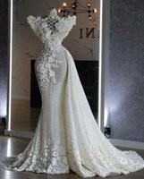 2021 Plus Size Arabic Aso Ebi Luxurious Sparkly Mermaid Wedding Dress Lace Beaded Sequined Sexy Bridal Gowns Dresses ZJ575