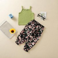 Clothing Sets Summer Toddler Infant Baby Boys Girls Solid Ribbed T-shirt Tops+ Camouflage Short Tracksuit Suit Children's 1-6 Y