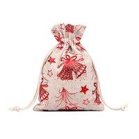 10pcs Sacs-cadeau de Noël Sacs-cadeaux Coton Draps Présent Treat Pochettes avec modèle d'éléments pour les enfants Party A1 Wrap