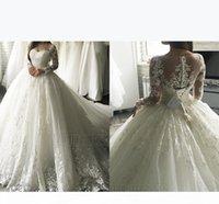 2018 Luxury Lace Applique Long Sleeve Princess Wedding Dresses Court Train Elegant Dubai Arabic Muslim A-line Wedding Dress Cheap