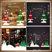 50 * 70 cm Feliz Navidad Reno de nieve Papá Noel Santa Claus Muñeco de nieve Guirnalda Terero Tienda Ventana Etiquetas de pared Pegatinas estática Calcomanía de vinilo Decoración de Navidad