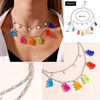 Pendant Necklaces 2 IN 1 Heart Star Charm Animal Necklace Mini Candy Color Bear For Women Girl Birthday Daily Jewelry Party Gifts