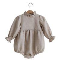 الكورية أستراليا جودة كبيرة الخريف الطفل أطفال السروال القصير الكتان العضوي القطن الكشكشة طوق حللا الوليد نيسيس تسلق الملابس 2132 Q2