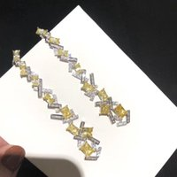 Бренд Чистый S925 Стерлинговые Серебряные Изделия Высокое Качество 5А Желтые Серьги Циркона Высокая Шпилька
