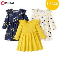 PatPat Arrival Autumn and Spring 3-pack Toddler Girl Floral and Polka Dots Long-sleeve Dress Set Children's Clothing 210915