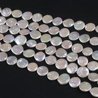 16-17mm Doğal Tatlısu Sikke Şekilli Inci Strands Beyaz Boncuk Kadınlar ve Erkekler için Delinmiş Delik Yoluyla Mücevher Yapımı