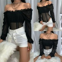 Women's Jumpsuits & Rompers Women Sexy See Through Bodysuits Ruffles Puff Long Sleeve Lace Off Shoulder Casaul Romper Jumpsuit Stretch Bodysuit Leotard Top 3F3E
