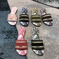 2021 Frauen Dway Slide Designer Flache Slipper Multicolor Gestickte Baumwollleder Gedruckte Innensohle Mode Sommer Strand Sexy Flip Flops 49 Farben mit Box